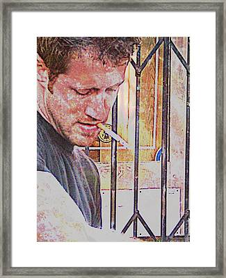 Framed Print featuring the mixed media Man Working by John Fish