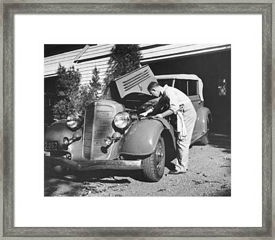 Man Working On His Car Framed Print