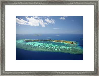 Mana Island And Coral Reef, Mamanuca Framed Print