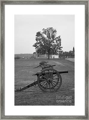 Manassas Battlefield Cannon And House Framed Print