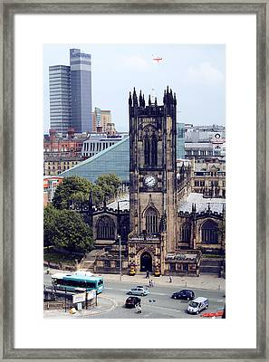 Manchester Cathedral Framed Print by Anthony Bean