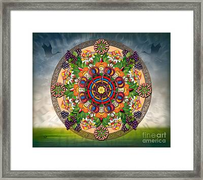 Mandala Armenian Grapes - Sp Framed Print by Bedros Awak