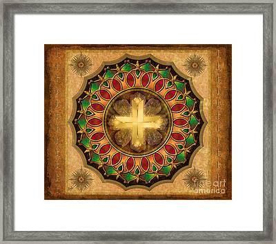 Mandala Illuminated Cross Sp Framed Print by Bedros Awak