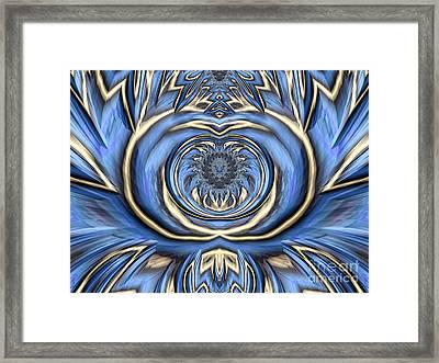 Mandala In Blue And Gold Framed Print