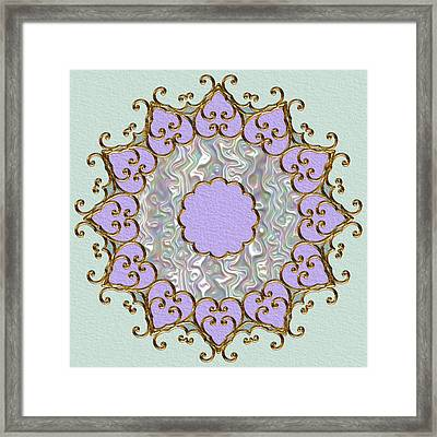Mandala In Gold And Orchid Framed Print by Pat Follett