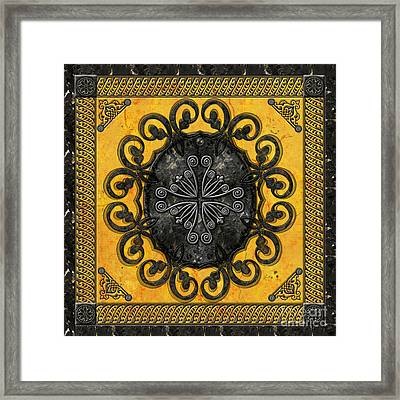 Mandala Obsidian Cross Framed Print by Bedros Awak