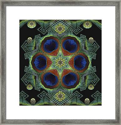 Framed Print featuring the digital art Mandala Peacock  by Nancy Griswold