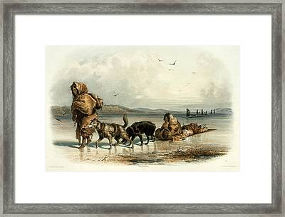 Mandan Indians With Dog Sledge, C.1840 Framed Print by Science Source