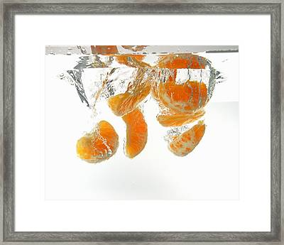 Mandarin Orange Slices Underwater Framed Print by Sami Sarkis