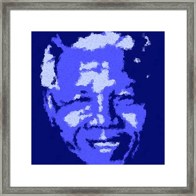 Mandela South African Icon  Blue And Green In The South African Flag Symbolize Fertility Scenery  Framed Print by Asbjorn Lonvig
