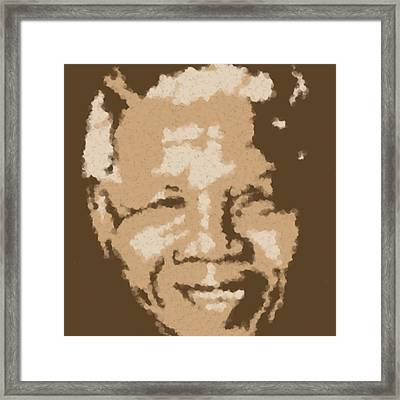 Mandela South African Icon  Brown Symbolizes High Ethical Standards And He Is Rewarded Le Prix De Le Framed Print by Asbjorn Lonvig