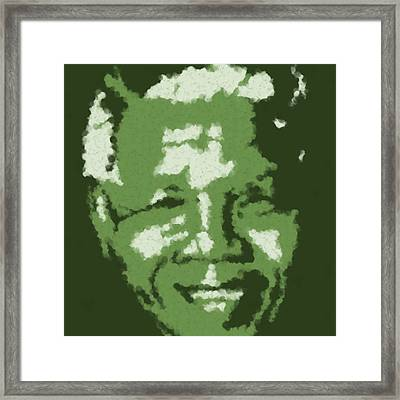 Mandela South African Icon  Green And Blue In The South African Flag Symbolize Fertility Scenery And Framed Print by Asbjorn Lonvig