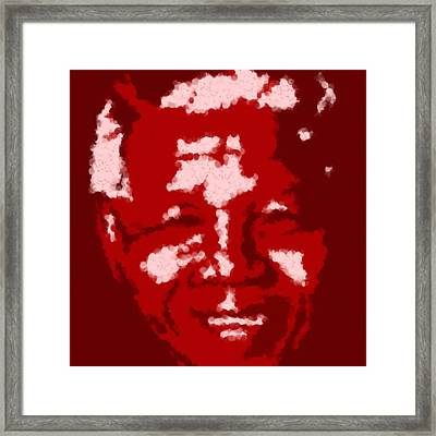 Mandela South African Icon  Red In The South African Flag Symbolizes The Struggle For Freedom Painti Framed Print by Asbjorn Lonvig