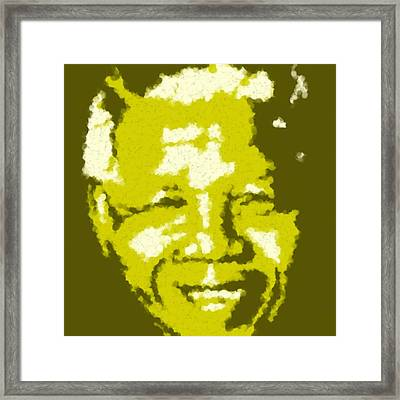 Mandela South African Icon  Yellow In The South African Flag Symbolizes Mineral Wealth Painting Framed Print by Asbjorn Lonvig