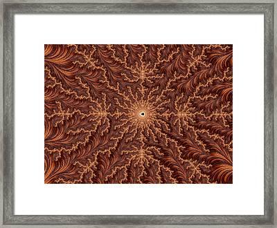 Mandelbrot Woodcarving Framed Print by Hakon Soreide