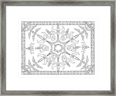 Framed Print featuring the drawing Mando'ade Darasuum Bw by Mary J Winters-Meyer