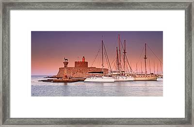 Mandraki Harbour Framed Print by Ollie Taylor