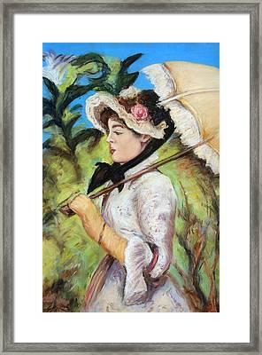 Manet Woman With Parasol Framed Print by Melinda Saminski