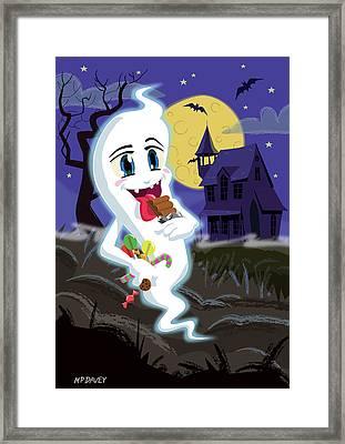 Manga Sweet Ghost At Halloween Framed Print by Martin Davey