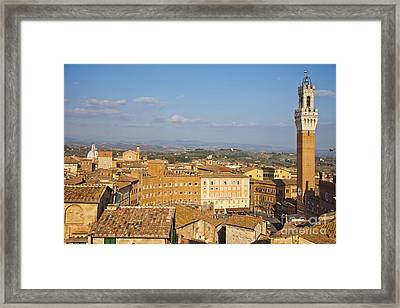 Mangia Tower Piazzo Del Campo  Siena  Framed Print by Liz Leyden