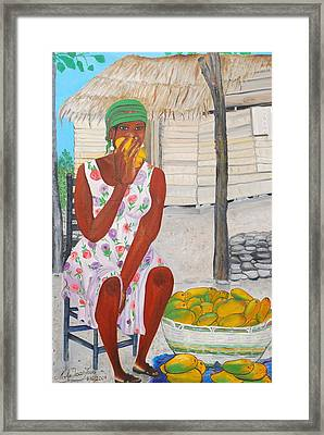 Framed Print featuring the painting Mango Merchant Woman by Nicole Jean-Louis