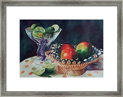 Mango With A Twist Of Lime Framed Print by Leslie Berman