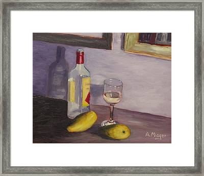 Mangoes And White Wine Framed Print