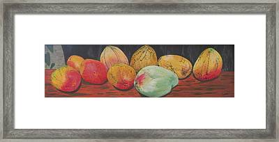 Framed Print featuring the painting Mangoes On The Barbie by Hilda and Jose Garrancho