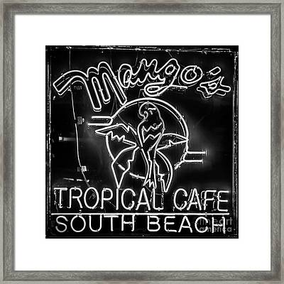 Mango's South Beach Miami - Black And White - Square Framed Print by Ian Monk