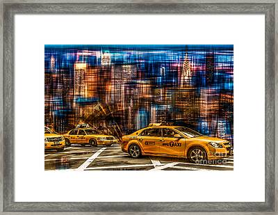 Manhattan - Yellow Cabs I Framed Print by Hannes Cmarits