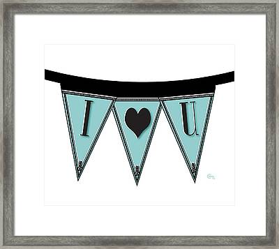 Pennant Deco Blues Streamer Sign I Love You Framed Print by Cecely Bloom