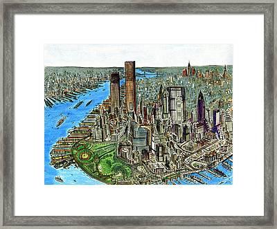 New York Downtown Manhattan 1972 Framed Print