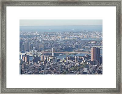 Framed Print featuring the photograph Manhattan And Brooklyn Bridge by David Grant
