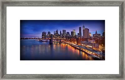 Manhattan At Dawn - Brooklyn Bridge Framed Print by Lee Dos Santos