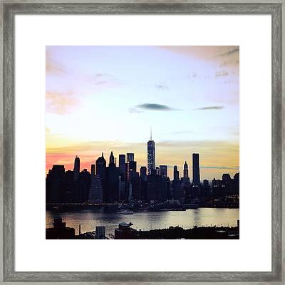 Manhattan At Dusk Framed Print