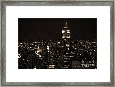 Manhattan At Night Vintage  Framed Print