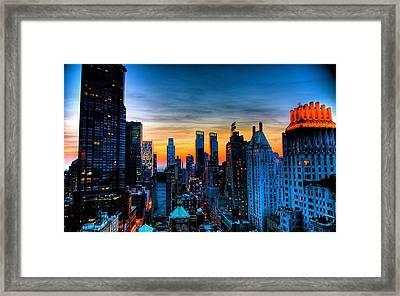 Manhattan At Sunset Framed Print