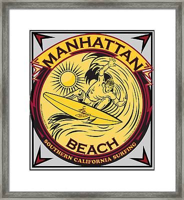Manhattan Beach California Surfing Framed Print