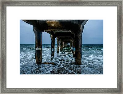 Manhattan Beach Peir Framed Print by Joe Scott