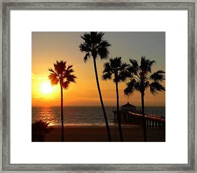 Manhattan Beach Pier And Palms At Sunset Framed Print