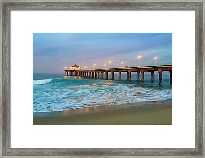 Manhattan Beach Reflections Framed Print by Art Block Collections