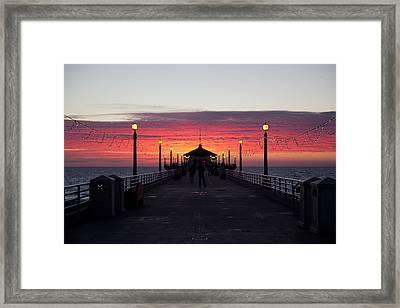 Manhattan Beach Sunset Framed Print by April Reppucci