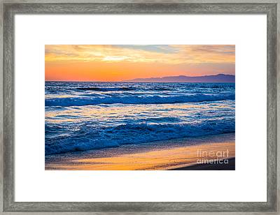 Manhattan Beach Sunset Framed Print by Inge Johnsson