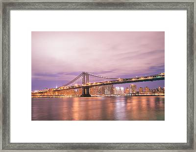 Manhattan Bridge And New York City Skyline At Night Framed Print