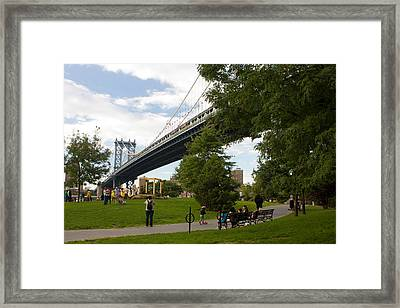 Framed Print featuring the photograph Manhattan Bridge And Park by Jose Oquendo
