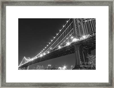 Manhattan Bridge At Twilight Framed Print by AHcreatrix