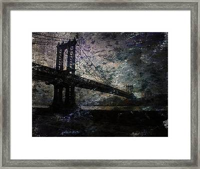 Framed Print featuring the digital art Manhattan Bridge by Bruce Rolff