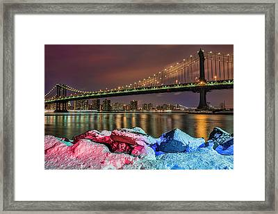 Manhattan Bridge By Snow-covered Rocks Framed Print by F. M. Kearney