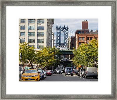 Framed Print featuring the photograph Manhattan Bridge From Dumbo by Jose Oquendo