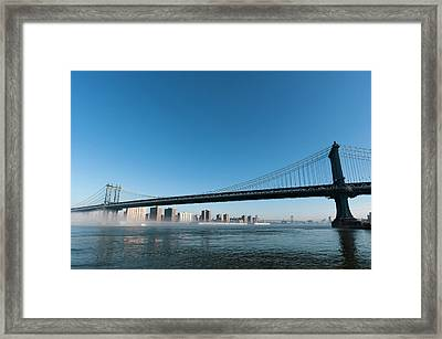 Manhattan Bridge In The Morning Mist Framed Print by Sergio Pitamitz